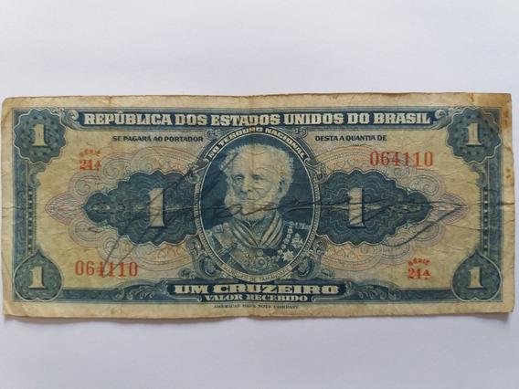 Cédula Rara De 1 Cruzeiro M. Tamandaré Mbc C 009 - Série 24