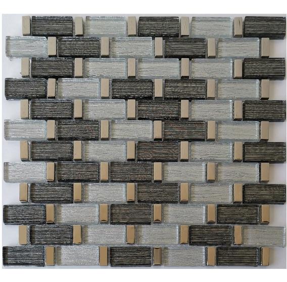 3 X Malla Mosaico Decorativa Cenefa Vidrio Argenta