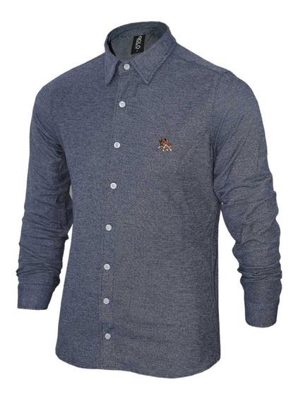 Camisa Social Polo Rg518 Com Cavalo Bordado Ref 17063