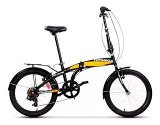 Bicicleta Top Mega Folding Plegable Rodado 20 7v Linga +led