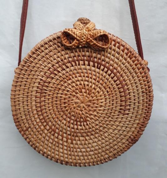 Bolsa Redonda Bambu Moda Boho Feita Artesanalmente