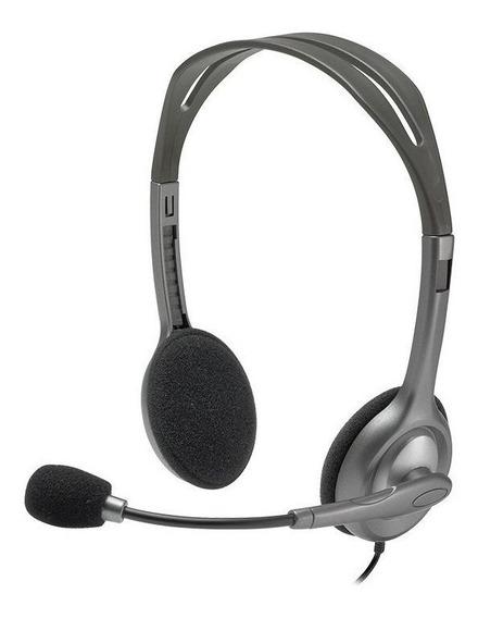 Fone de ouvido Logitech H111 cinza