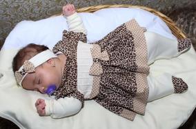 Saída Maternidade 3 Peças Coleção Oncinha Para Menina Onça