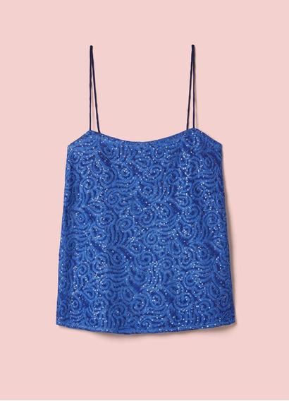 Blusa Cantão Alças Voil De Seda Boutique Azul