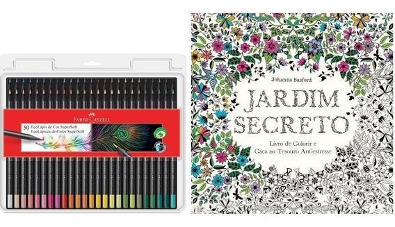 Kit - Livro Jardim Secreto + Lápis 50 Cores Supersoft Faber