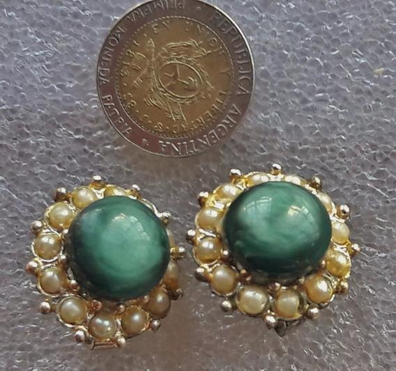 Antiguos Aros Dorados Con Piedras Turquesa, Vintage, Años 50