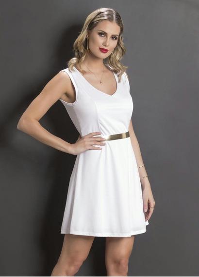 Vestido Evasê Branco Com Detalhe Nas Costas Balada Promoção