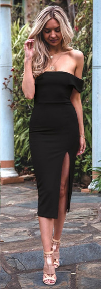 Vestido Sexy Strapless Con Tajo Moda Bohemia