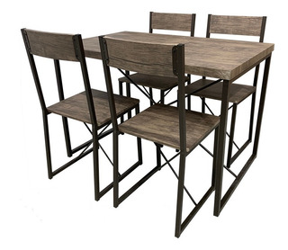 Comedor 4 Sillas Moderno Madera Metal Hogar Restaurante Bar