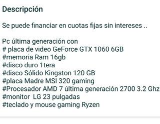 Pc Gamers Amd Ryzen 7 + Monitor 23p
