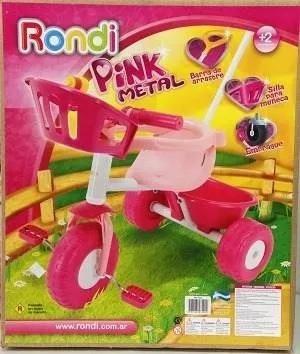Triciclo Con Barra De Paseo Blue Pink Metal Rondi - 3500