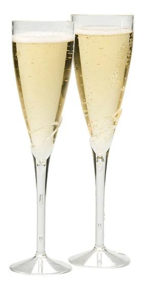 6 Copas Para Champagne Plastico Resistente 9 Pulgadas