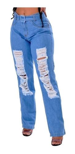 Calça Feminina Jogger Jeans Destroyed Cintura Alta Com Cinto