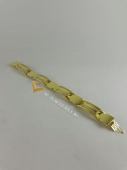 Pulseira Bracelete Masculino De Prata Banhado A Ouro 14,5mm