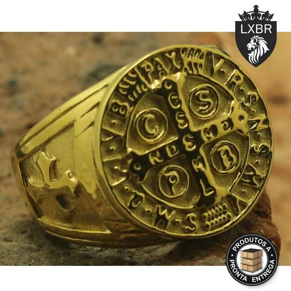 Anel Maciço Inox 316l Ouro 18k Medalha São Bento Lxbr A167