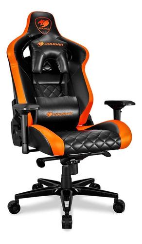 Imagen 1 de 4 de Silla de escritorio Cougar Armor Titan gamer ergonómica  black y orange con tapizado de cuero sintético