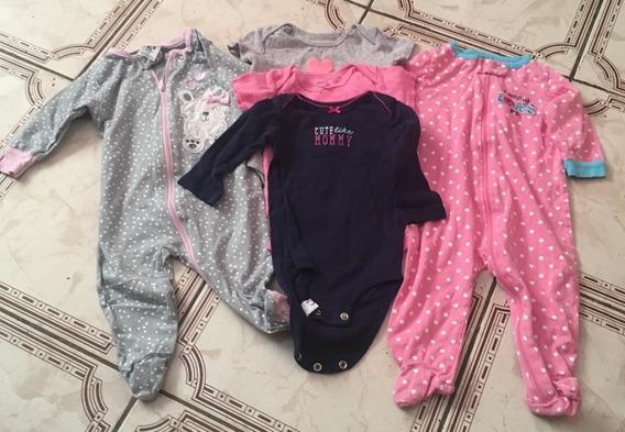 Kit 3 Bodys Bebê E 2 Macacao Carters E Gerber Menina 6 Meses