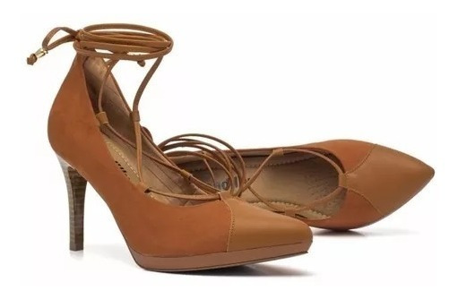Sapato Alto Piccadilly Micro Fibra Trançado Na Perna