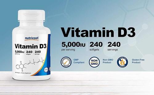 Vitamina D3 5,000 Iu 400 Capsulas Importada