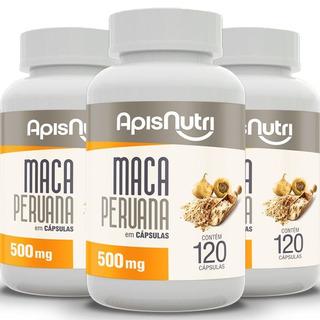 Kit 3 Maca Peruana 500mg Apisnutri Com 120 Cápsulas