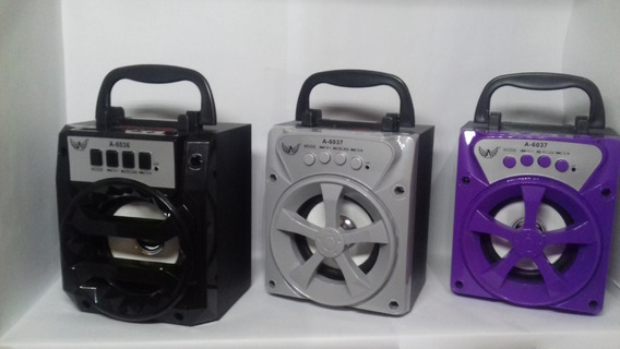 Caixa De Som Bluetooth Portátil Rádio Fm Usb Micro Sd A-6036