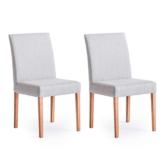 Conjunto Com 2 Cadeiras De Jantar Sky Cinza E Castanho