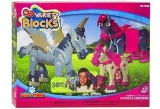 Variety Blocks 3d Caballo Unicornios 418 Piezas Rompecabezas