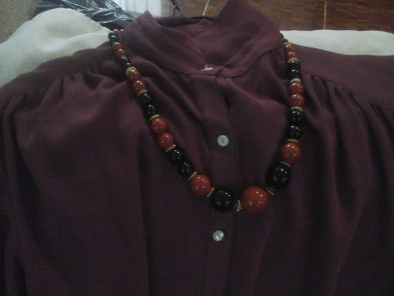 Collar De Fantasia , Piedras Rojas Y Negras ,