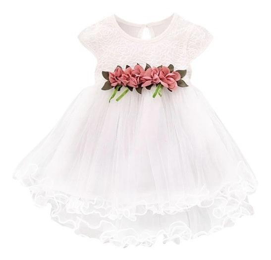 Vestido Infantil Festa Branco Batizado Florista, Dama