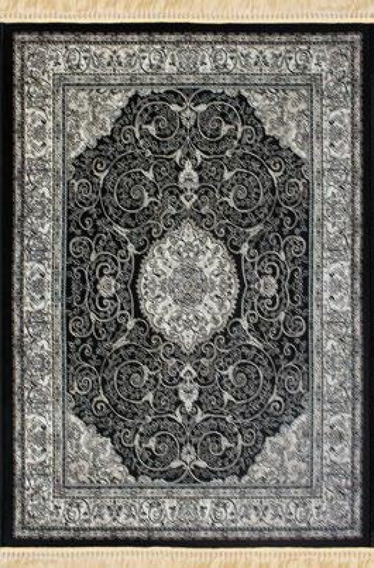 Tapete Belga Star Preto 140x200cm Fabric Na Índia Poliéster