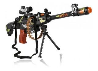 Ametralladora Con Movimiento Laser Rojo Luz Sonido Militar