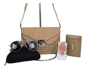 Bolsa + Carteira + Relógio + Óculos Kit Chique