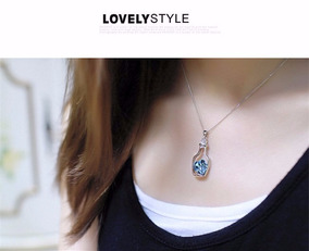 Colar Coraçao Na Garrafa Com Pingente De Cristal Azul Luxo!