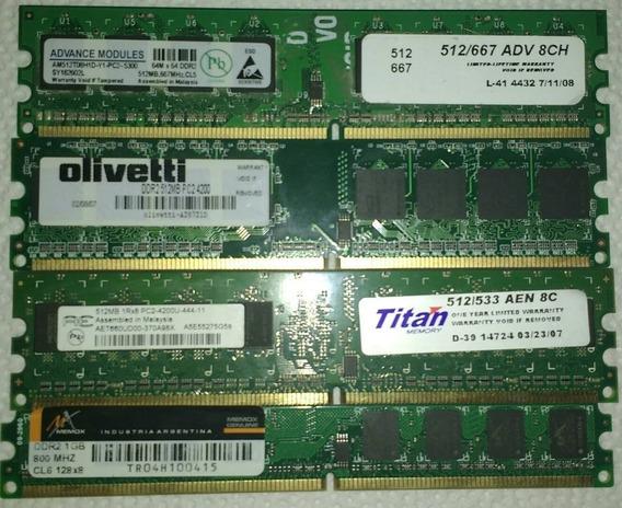 Lote De Memorias Ram De 512 Mb (x3) Y 1 Gb (x1) Para Pc Ddr2