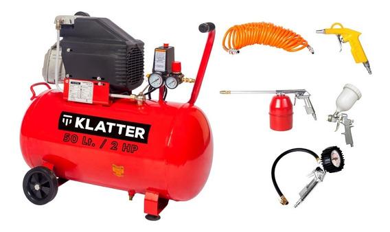 Compresor De Aire 50 Lt + Kit Accesorios 5 Piezas Klatter