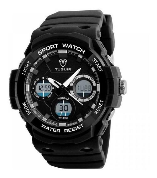 Relógio Masculino Esportivo Original Anadig Preto Prova Agua