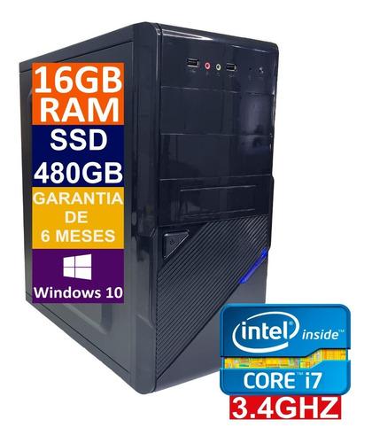 Imagem 1 de 5 de Pc Computador Cpu Intel Core I7 Ssd 480gb / 16gb Memória Ram
