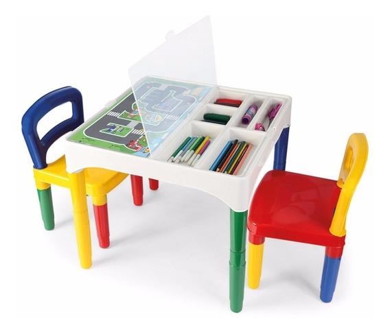 Mesa Infantil Mesinha Didática 2 Cadeiras Adesivos Poliplac