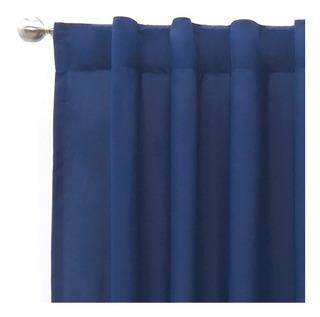 Juego Cortinas Cortas Viasoft Marino Azul Vianney