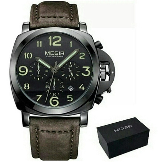 Relógio Megir De Luxo Modelo 3406 Original Pulseira Couro