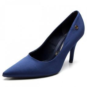 a13964f407 Scarpin Vizzano Cetim Azul Marinho - Sapatos no Mercado Livre Brasil