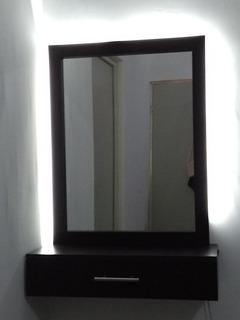 Espejo Con Iluminación Indirecta Con Repisa Flotante
