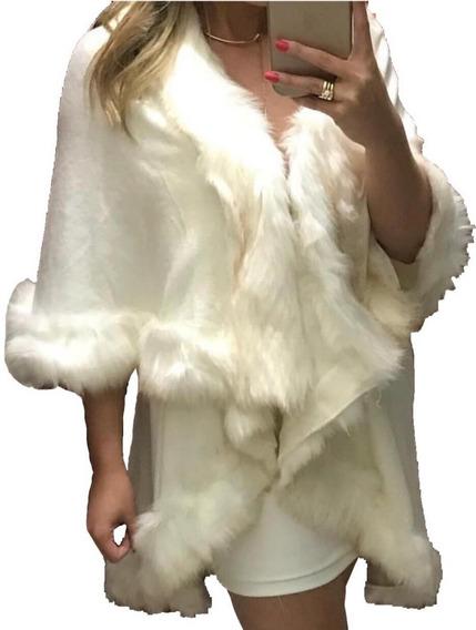 Poncho De Lã Pelerine C Pelos Sintetico Moda Feminina