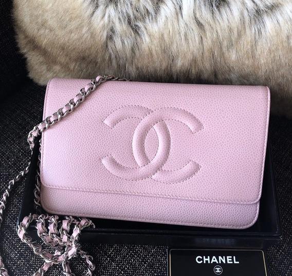 Chanel Bolsa Mini Wallet Pink Baby Caviar Original