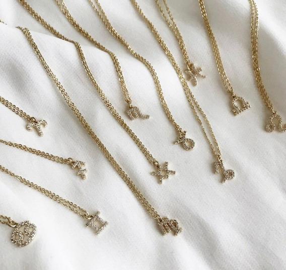 Collar Signo Zodiacal Chapa De Oro Regalo