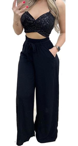 Calça Pantalona Preta Cintura Alta Moda Blogueira Verão 2020