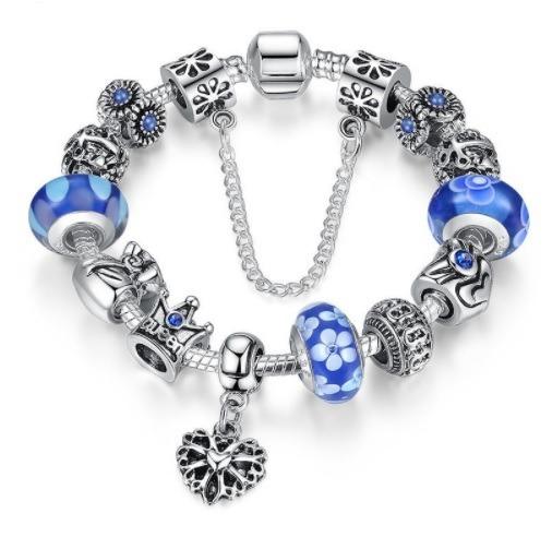 Pulseira Estilo Pandora Vivara + Lindos Berloques Blue