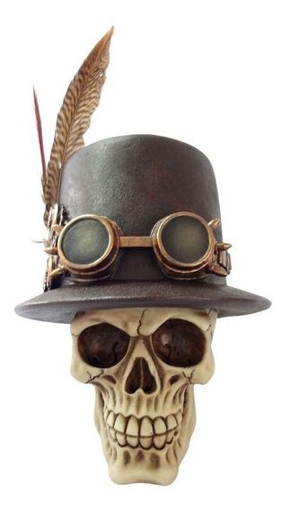 Caveira Resina Chapéu Óculos E Pena Pirata Skull Decorativa
