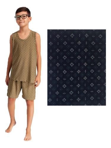 Pijama Regata Short Liganete Masculino Menino Infantil Verão