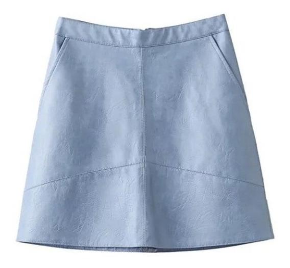 Falda Corta Mujer Efecto Piel Azul Polipiel Bolsas Laterales